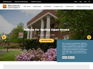 Waynesburg University's Website Screenshot