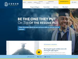 Coker College's Website Screenshot