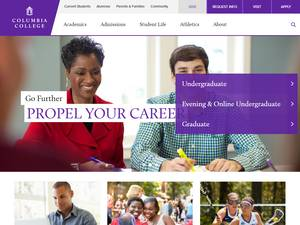Columbia College, South Carolina's Website Screenshot