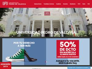 Universidad Pedro de Valdivia's Website Screenshot