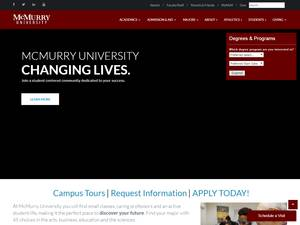 McMurry University's Website Screenshot