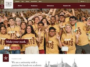 Texas State University's Website Screenshot