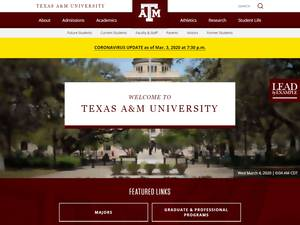 Texas A&M University's Website Screenshot