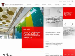 Texas Tech University's Website Screenshot