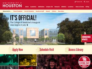 University of Houston's Website Screenshot
