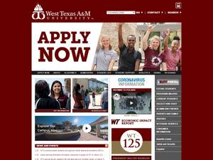 West Texas A&M University's Website Screenshot