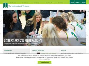 University of Vermont's Website Screenshot