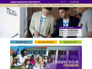James Madison University's Website Screenshot