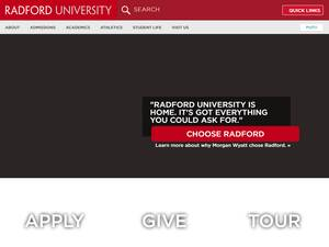 Radford University's Website Screenshot