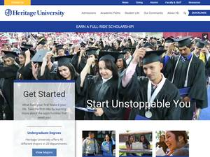 Heritage University's Website Screenshot