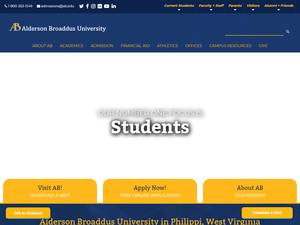 Alderson Broaddus University's Website Screenshot