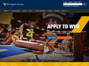 West Virginia University's Website Screenshot