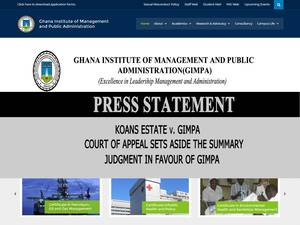 Ghana Institute of Management and Public Administration's Website Screenshot