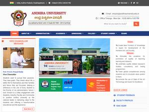 Andhra University's Website Screenshot