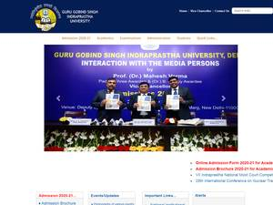 Guru Gobind Singh Indraprastha University's Website Screenshot