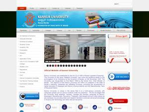 Kannur University's Website Screenshot