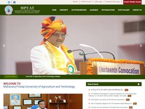 Maharana Pratap University of Agriculture and Technology's Website Screenshot
