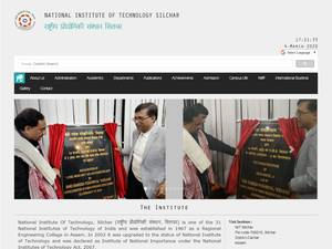 National Institute of Technology, Silchar's Website Screenshot