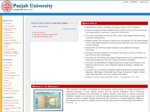 Panjab University's Website Screenshot