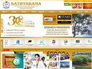 Sathyabama Institute of Science and Technology's Website Screenshot
