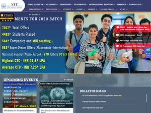 VIT University's Website Screenshot