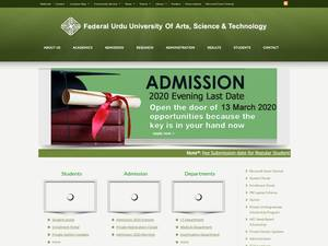 Federal Urdu University of Arts, Sciences and Technology's Website Screenshot