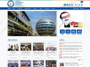 American International University-Bangladesh's Website Screenshot