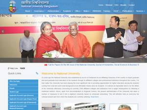 National University, Bangladesh's Website Screenshot