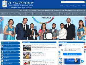 Uttara University's Website Screenshot