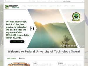 Federal University of Technology, Owerri's Website Screenshot