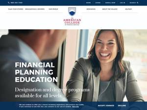 The American College of Financial Services's Website Screenshot
