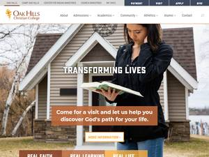 Oak Hills Christian College's Website Screenshot