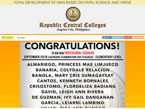 Republic Central Colleges's Website Screenshot
