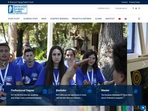 Universiteti Europian i Tiranës's Website Screenshot