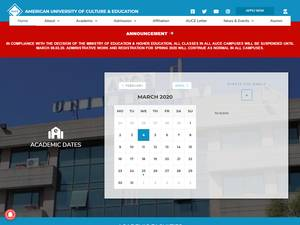 American University of Culture and Education's Website Screenshot